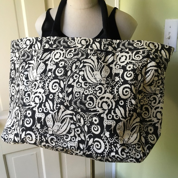 Nwot Rock Flower Paper Black Cream Canvas Tote